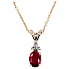 Vibrant Ruby & Diamond Pendant Necklace
