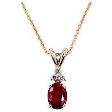 Vibrant Ruby & Diamond Pendant Necklace