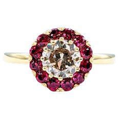 Vintage Diamond & Ruby Halo Engagement Ring
