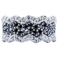 Flashing Black & White Diamond Dress Ring