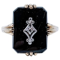 Classic Art Deco Onyx & Diamond Cocktail Ring