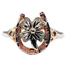 Lucky 10K Gold Horseshoe & Four Leaf Clover Ring