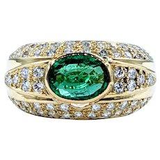 Fabulous Emerald & Diamond Cocktail Ring