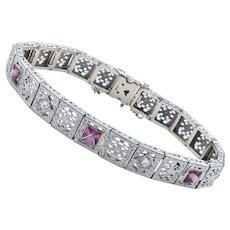 Elaborate Art Deco Diamond & Garnet Bracelet