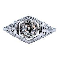 Stylish Art Deco Diamond Solitaire Ring