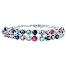 Unique & Colorful Multi Gemstone Platinum Bracelet