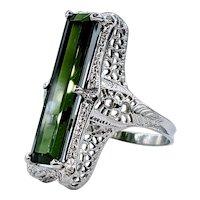 Striking Green Tourmaline Ring with Antique Mounting