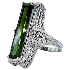 Striking Green Tourmaline Ring with Antique Mounting