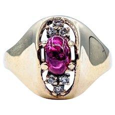 Unique Retro Ruby & Diamond Ring