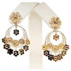 Fabulous 14K Yellow Gold Chandelier Earrings
