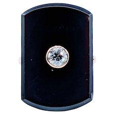 Striking Art Deco Onyx & Diamond Cocktail Ring