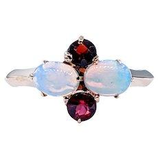Simple & Colorful Opal & Garnet Ring