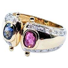 Stylish Ruby, Sapphire & Diamond Fashion Ring
