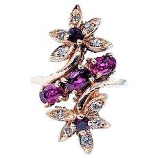 Elegant Ruby & Diamond Floral Cocktail Ring