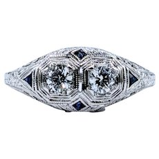 Art Deco Twin Diamond & Sapphire Dress Ring