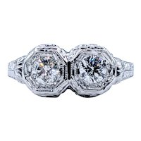 Antique Twin Diamond Ring - 18K White Gold
