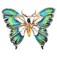 Stunning Gold & Enamel Butterfly Brooch
