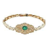 Retro Emerald & Diamond Link Bracelet