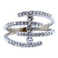 Glittering Diamond Multi-Row Fashion Ring