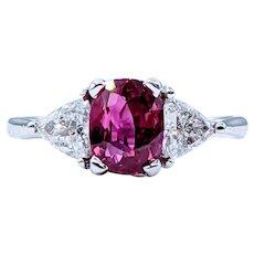 Splendid Ruby & Diamond Three-Stone Ring