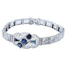 Lavish Art Deco Diamond & Sapphire Bracelet