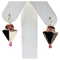 Antique Victorian Ruby & Solid Gold Earrings