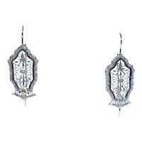 Beautiful Art Deco Diamond Filigree Earrings