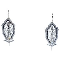 Beautiful Art Deco Diamond Filigree Earrings