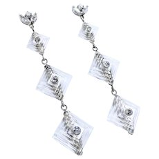 Art Deco Diamond & Carved Rock Crystal Earrings