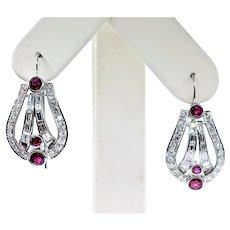 Unforgettable Art Deco Ruby & Diamond Earrings