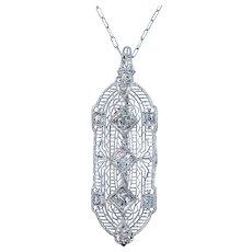 Superb Art Deco Diamond Pendant / Brooch Necklace