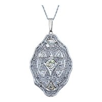 Fabulous Art Deco Diamond Pendant Necklace