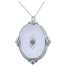 Art Deco Diamond & Camphor Glass Pendant Necklace