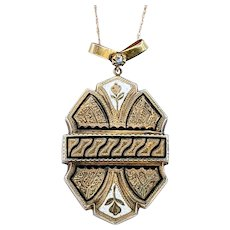 Beautiful Antique Gold & Enamel Pendant Necklace