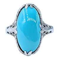 Elegant Art Deco Turquoise Dress Ring