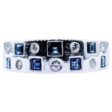 Contemporary Diamond & Sapphire Ring