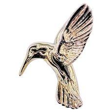 Sweet Hummingbird Pendant in Solid 14K Gold