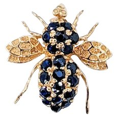 Sparkling Sapphire & Solid Gold Bee Brooch