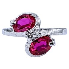 Vintage Synthetic Ruby & Topaz Ring