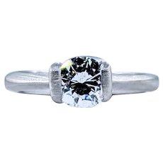 Spectacular Half Bezel Diamond Solitaire Engagement Ring