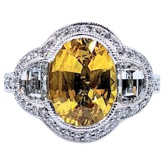 Superb Yellow Sapphire & Diamond Cocktail Ring