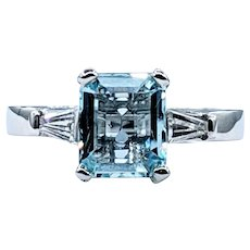 Ice Blue Aquamarine & Diamond Ring in Platinum - Hinged