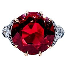Fabulous Diamond, Gold & Synthetic Ruby Cocktail Ring