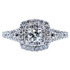 Stunning Double Halo Diamond Engagement Ring
