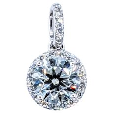 Sparkling Diamond & White Gold Halo Pendant