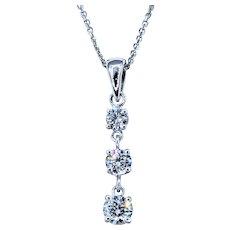 Classic Three-Stone Diamond Drop Pendant