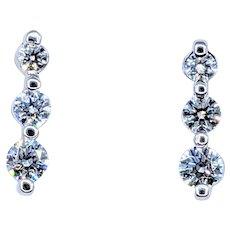 Stunning Three-Stone Diamond Drop Earrings