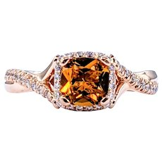 Gabriel & Co Citrine & Diamond Cocktail Ring