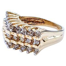 Stylish Diamond & 14K Gold Cocktail Ring