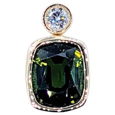Vivid Green Tourmaline & Diamond Pendant